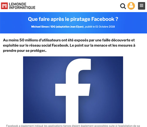 que faire après le piratage Facebook